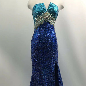 Cinderella Strapless Sequin Gown Dress Open slit